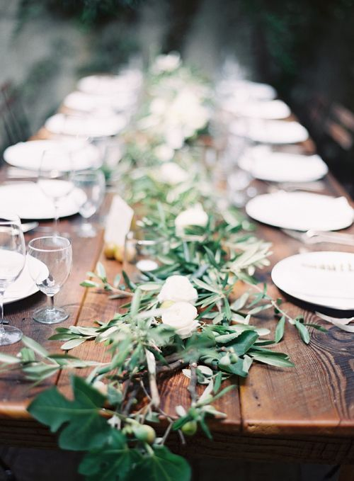 my favorite table spread so far. so simple and natural. eucalyptus and white flowers spread along a rustic wooden table. An Italian Collaboration - Roost - Roost: A Simple Life