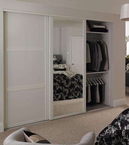 Shaker Panel & Mirror Door White | Sliding Wardrobe Doors | Doors & Joinery | Howdens Joinery