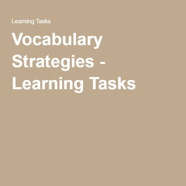 Vocabulary Strategies - Learning Tasks