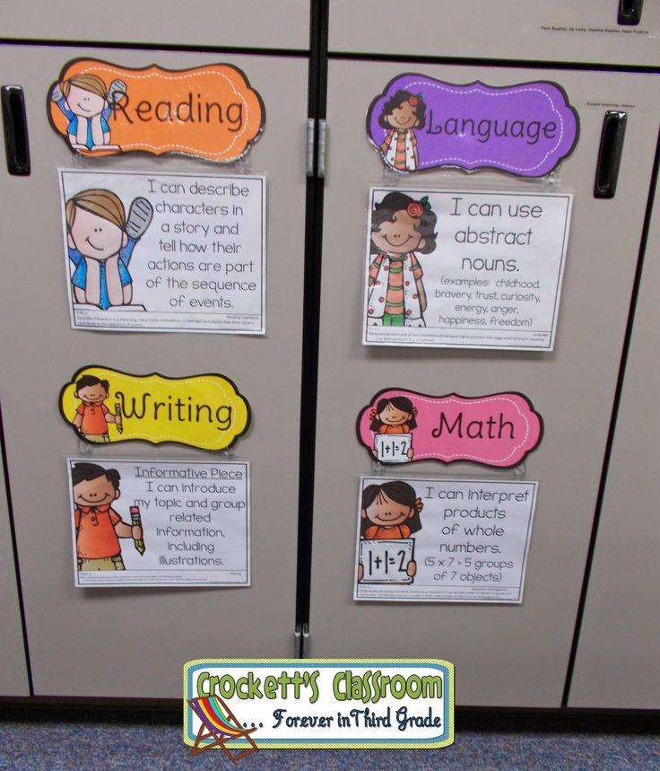 Display classroom objectives on cabinet doors--Crockett's Classroom