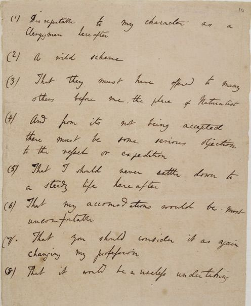 """A wild scheme"" and ""a useless undertaking"":  Darwin's list of his father's objections to the voyage on the Beagle"