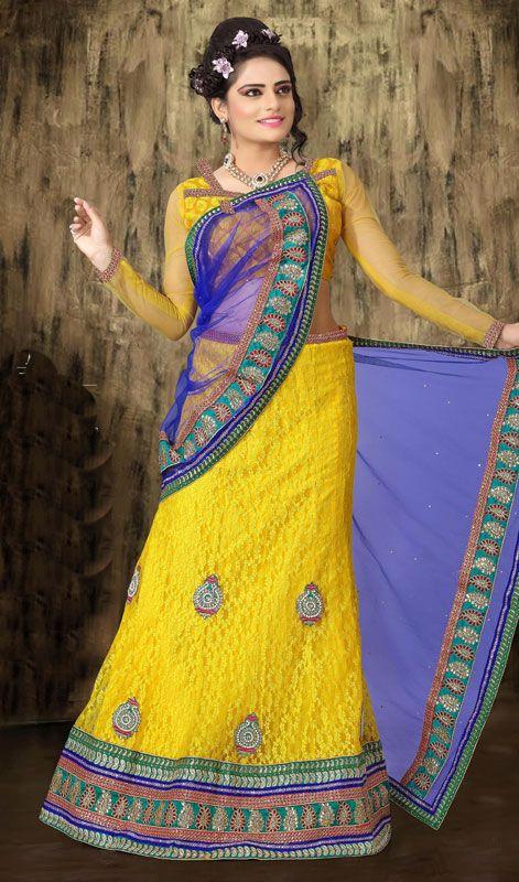 Yellow Net Jacquard Lehenga Choli Price: Usa Dollar $141, British UK Pound £83, Euro104, Canada CA$153 , Indian Rs7614.