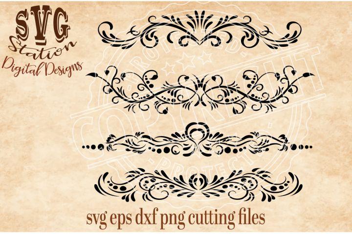 Four Ornamental Flourish Borders Cut File Font #AD