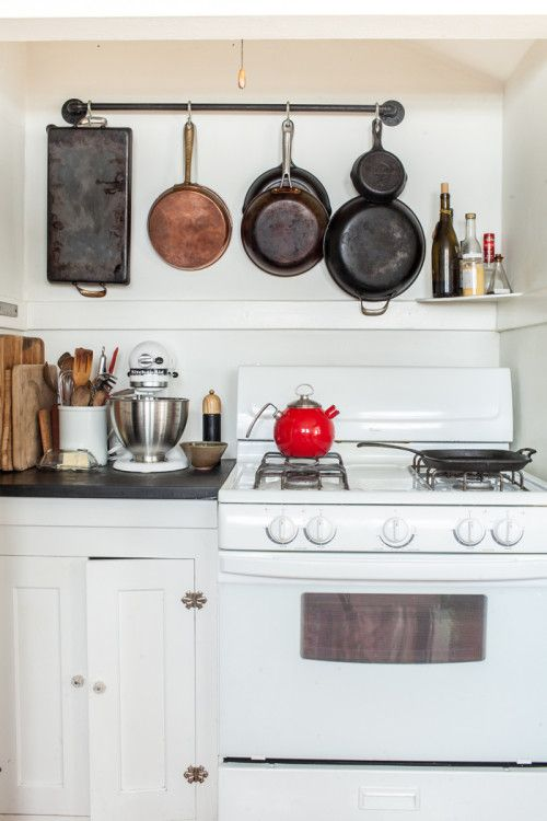Simple Portland Kitchen, Hanging Pans, Hanging Cast Iron, Kitchen Space,  Clean Kitchen
