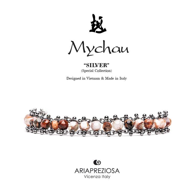 Mychau Silver - Bracciale realizzato in Argento 925‰ (galvanica rutenio nero) e pietre naturali Agata Fuoco Cracked