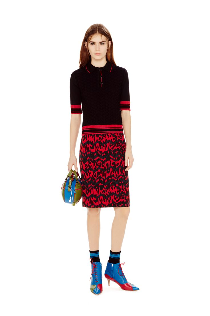 M-Missoni - RELIEF KNIT POLO & ANIMALIER SKIRT