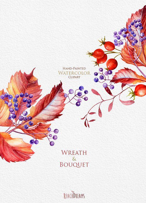 Watercolor Wreaths Bouquets Autumn clipart fall от ReachDreams