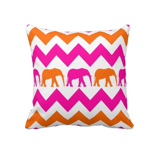 Bold Hot Pink Orange Elephants Chevron Stripes Pillow