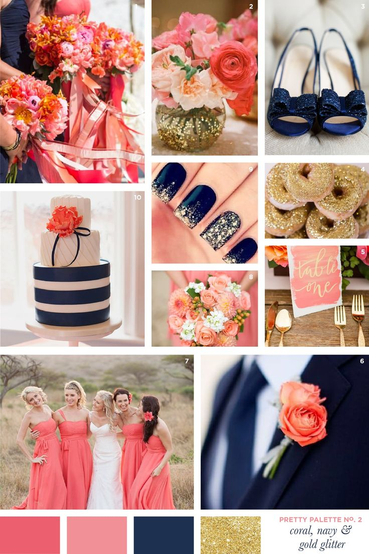Coral, Navy and Gold Glitter Wedding Colour Palette | Flourish & Lace Bespoke Wedding Stationery and Invitations