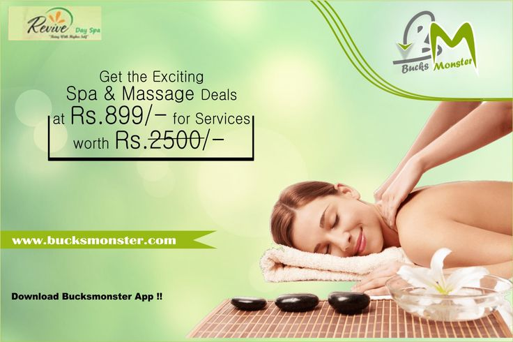 Get Attractive #Deals on #Spa & #Massage  Grab one of the fantastic spa & massage deals on @bucksmonsterapp  at Just Rs. 899/-