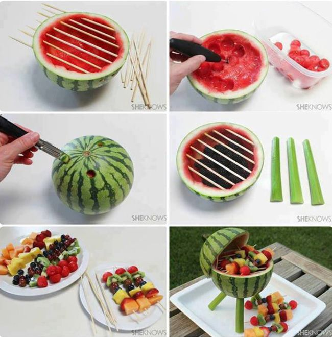 15 Original Picnic Ideas for Labor Day: Fruit Salad, Fruit Bowls, Bbq Grilled, Food, Summer Parties, Fruit Kabobs, Watermelon Grilled, Summer Bbq, Parties Ideas
