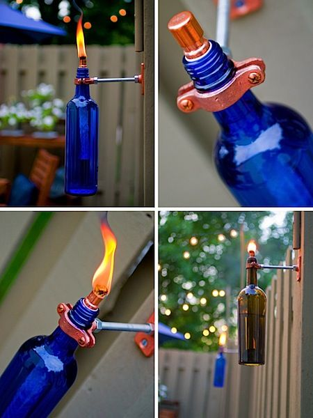 wine bottle torches for fence