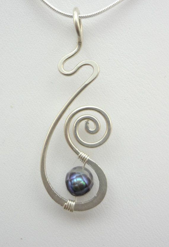 Sterling Silver and Pearl Freeform Hammered Wire Wrapped Pendant
