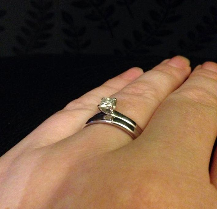 #Happycustomer time! Check out this gorgeous stack from the lovely Claire. We wish her all the best!  Got your rock from us too? We would love to see more fab pictures!  Shop Claire's ring here: http://www.77diamonds.com/contemporary_rings.html?itm=scope