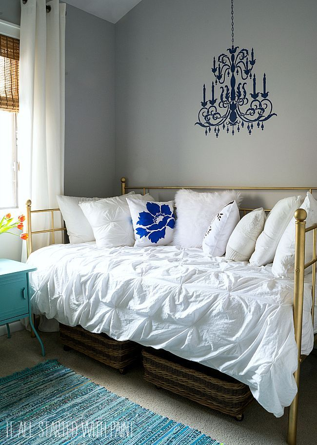 Gray White Aqua Girl Bedroom With Chandelier Wall Stencil From Cutting Edge  Stencils And Paint
