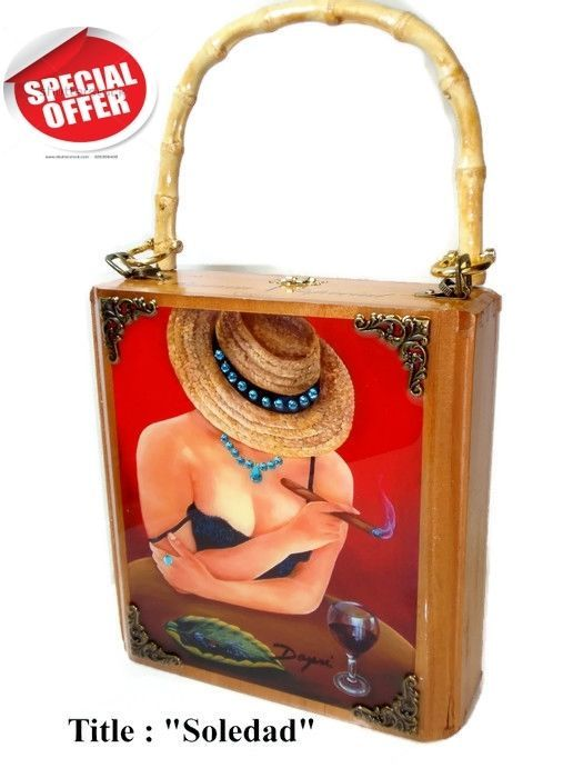 "New ! Mother's Day Gift .Cigar Box Purse w/ Cuban artworks on top ""Soledad""."