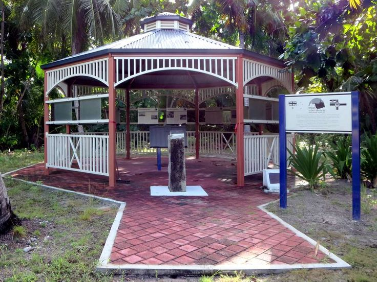A gazebo on Direction Island, Cocos (Keeling) Islands, has displays on the November 1914 naval battle between the light cruisers HMAS Sydney and SMS Emden.