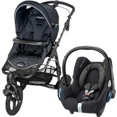 Bebe confort Pack poussette duo high trek cabriofix black raven 2015
