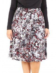 Prints for curvy girls!-Floral printed satin midi skirt - Multicolour