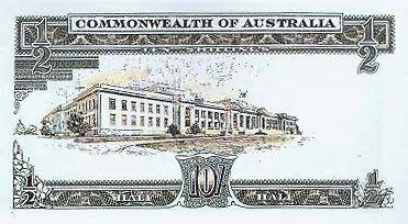 Australian pre-decimal 10/- note - Back.