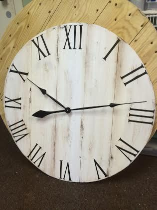 23.5 Handmade Wall Clock in Distressed by ThreeLittleDovesShop