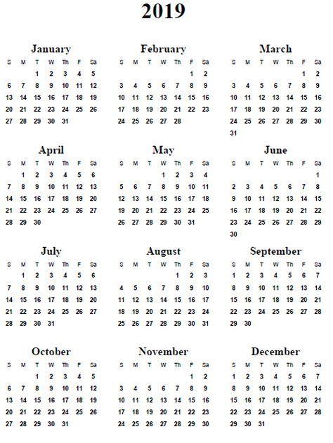 2019 calendar word 2018 calendar printable