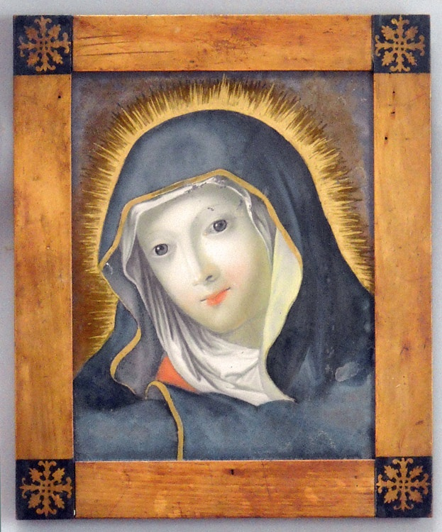Reverse glass painting (Hinterglasmalerei) of the Madonna, circa 1840, found in Salzburg. Original Beidermeier frame. H:14, W:11½. Ref. #30-06