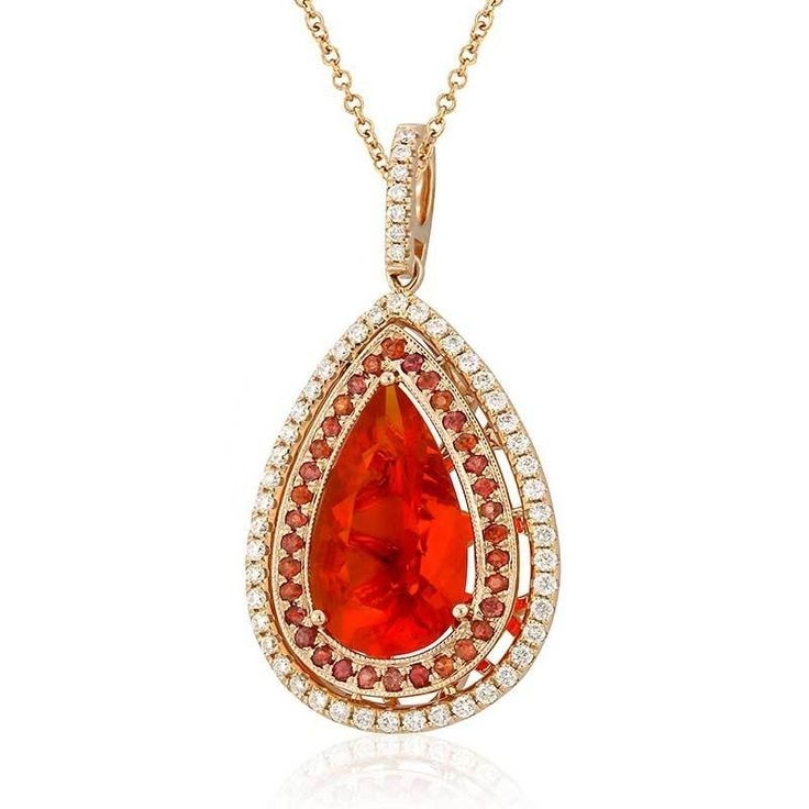 Nasu 18k rose gold pendant featuring 4.49ct fire opal, accented with .55ct red sapphire and .64ct diamonds