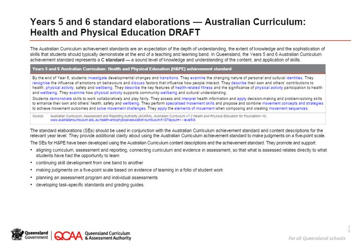Years 5 and 6 standard elaborations — Australian Curriculum: Health and Physical Education DRAFT