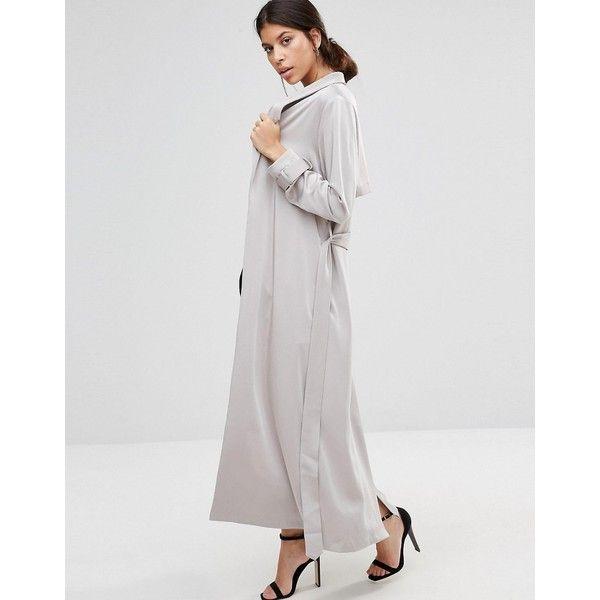 True Decadence Satin Duster Coat featuring polyvore women's fashion clothing outerwear coats grey tie belt gray coat reversible coats grey coat tall coats