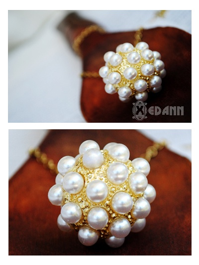 Golden Ball of Pearl Necklace - Php 140