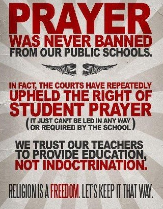 coercive prayer in public schools should be prevented Similarly, public school officials may not themselves decide that prayer should be included in school-sponsored events in lee v weisman [ 7 ] , for example, the supreme court held that public school officials violated the constitution in inviting a member of the clergy to deliver a prayer at a graduation ceremony.