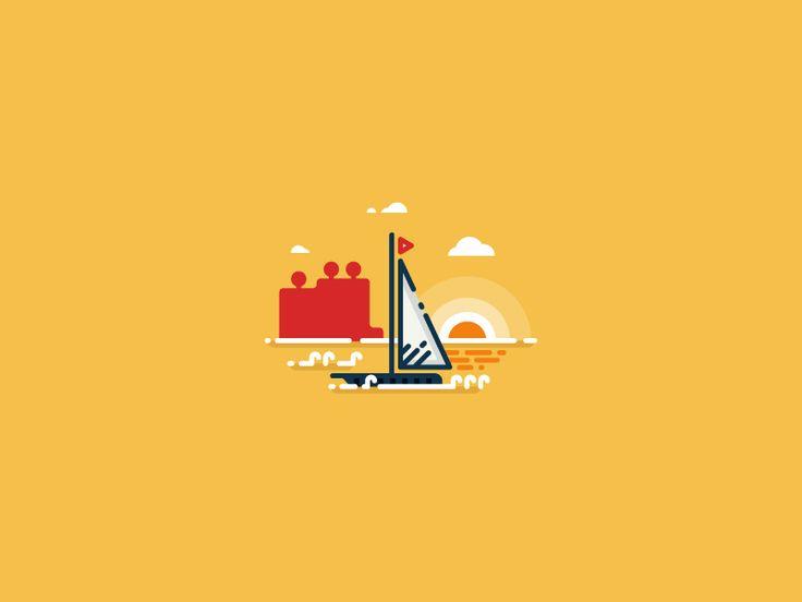 Sailing boat outline illustration by Infographic Paradise #Design Popular #Dribbble #shots