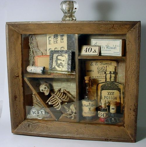 Another idea for a shadowbox. I may need to just have a wall dedicated to Halloween artifacts. One hutch and 5 boxes just won't cut it.