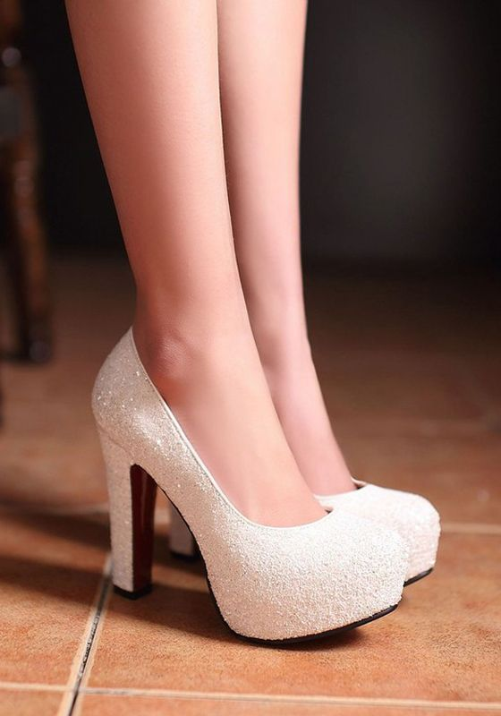 White Round Toe Chunky Sequin Fashion High-Heeled Shoes