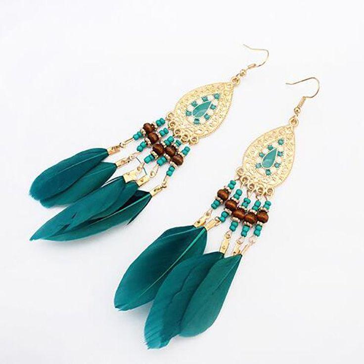 Summer Women Fashion Jewelry Bohemia Ethnic Vintage Long Feather Water Drop Earrings 5 colors Charm Earrings BOHO