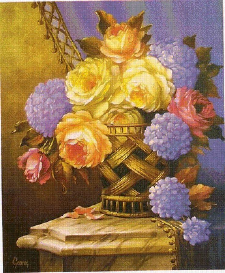 hortenzie,žlté ruže - Схемы вышивки - he4lin6da - Авторы - Портал «Вышивка крестом»