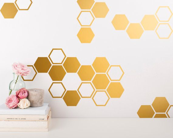 Gold Honeycomb Wall Decals - Hexagon Vinyl Wall Decals, Geometric Wall Decals, Honey Comb Vinyl, Gold Wall Decor for Gifts and More!