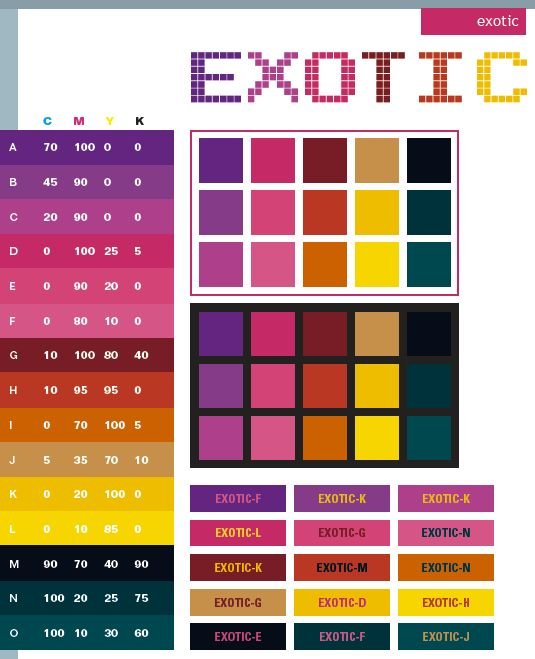 Color pallets exotic color schemes color combinations for Great color combinations