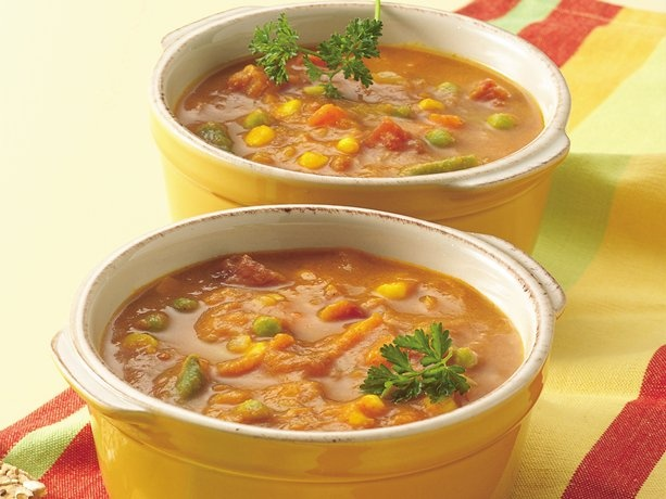 Use veggie broth (instead of chicken) for this filling Curried Pumpkin Vegetable Soup and it instantly becomes vegetarian. Sounds yummy!!