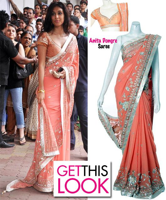 peach saree = elegance!