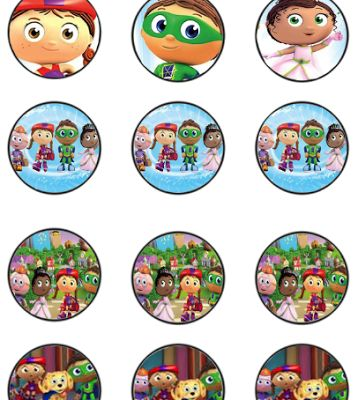 FREE Super Why Birthday Party cupcake toppers, banner, and water bottle label Printables