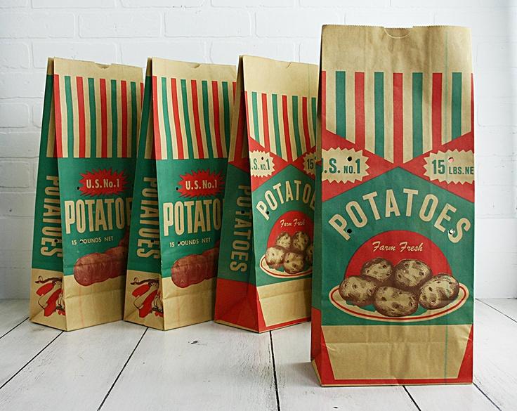 Vintage Potato Bags, 5 Unused Potato Sacks