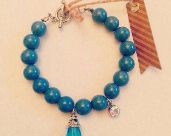 Turquoise Rose Charm Bracelet by MJCustomDesignCanada on Etsy