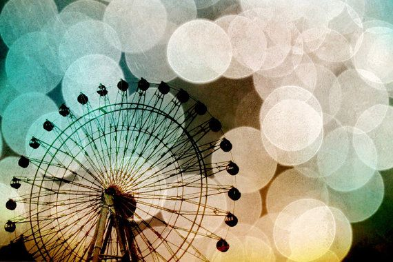 pastel bokeh blue ferris wheel metallic fine art photo