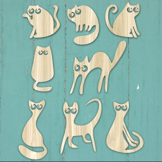 Cool silly cats set of 8 templates for laser cutting, design, pattern. It can be use for mosaic, scrapbooking, interior design decor, wall art, kids decor, kids toy's, invites, coasters, mothers day gift, birthday present or add to your product catalog.  Cut out of wood, paper, hardboard, Perspex ® acrylic.  Download VECTOR file PDF, AI, EPS, SVG, CDR x4. Use your favorite editing program to scale this vector to any size. You can add and remove elements or personalize the design. Our te...