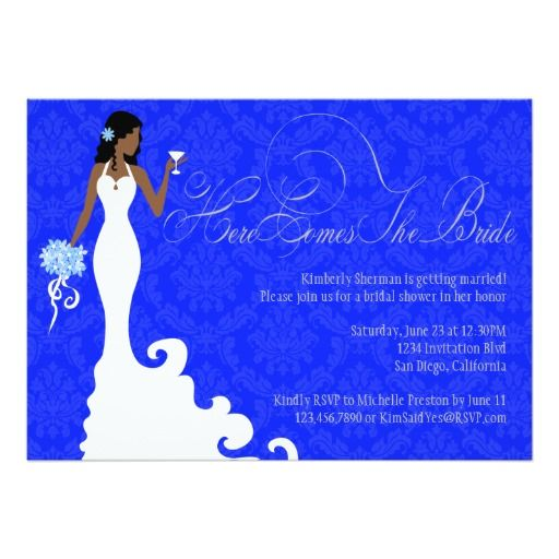 272 best african american wedding invitations images on pinterest chic royal blue silver damask here comes the bride 5x7 paper invitation card filmwisefo Images