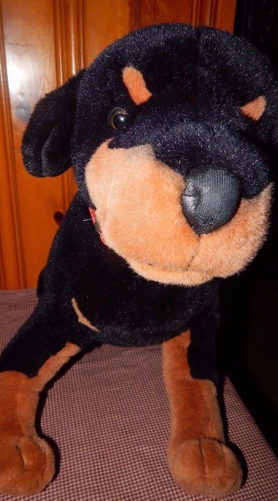 "Large Plush Rottweiler / Doberman Dog 20"" Realistic Stuffed Animal Toy Black/Tan #WholesaleDistributors"