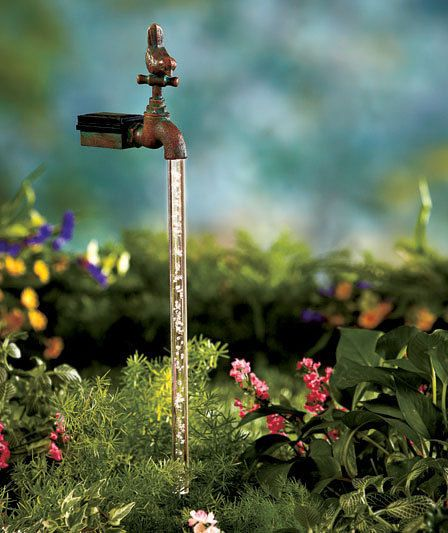 outdoor solar water faucet garden stake illusion magic