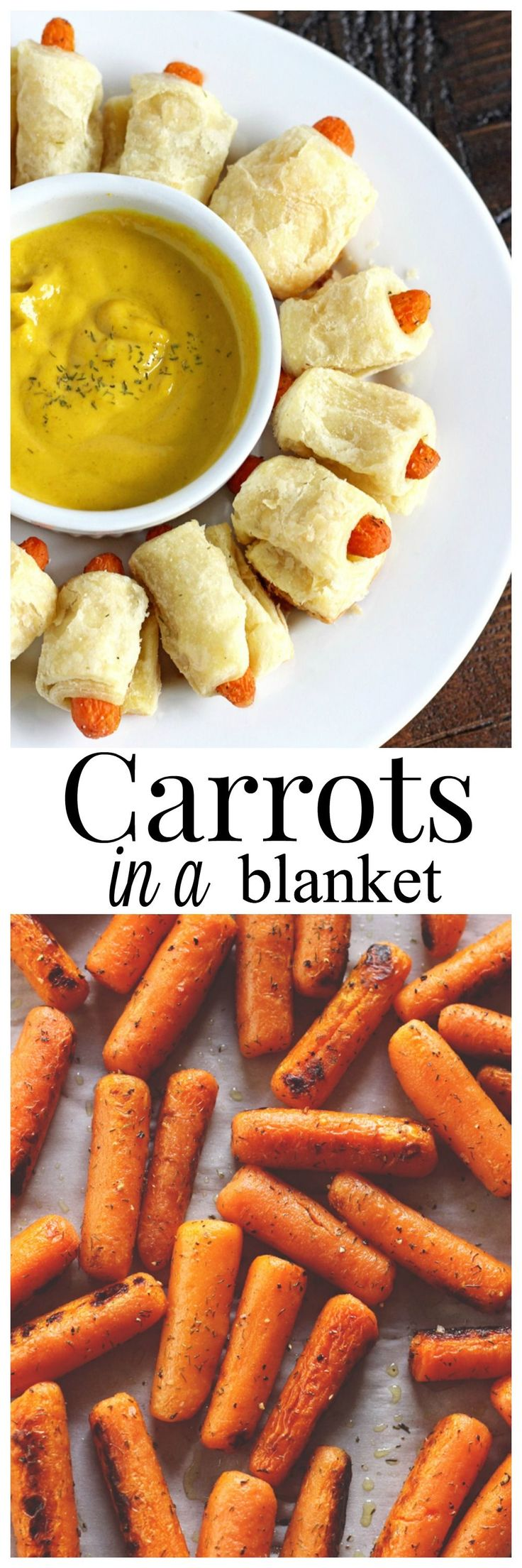 Carrots in a Blanket! A healthy, more delicious alternative to pigs in a blanket. Enjoy this appetizer that's not only good for you but cruelty free! NeuroticMommy.com #vegan #appetizers